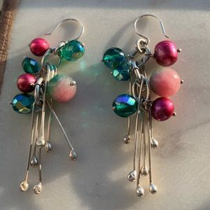 Silver drop earrings with pink/green beading